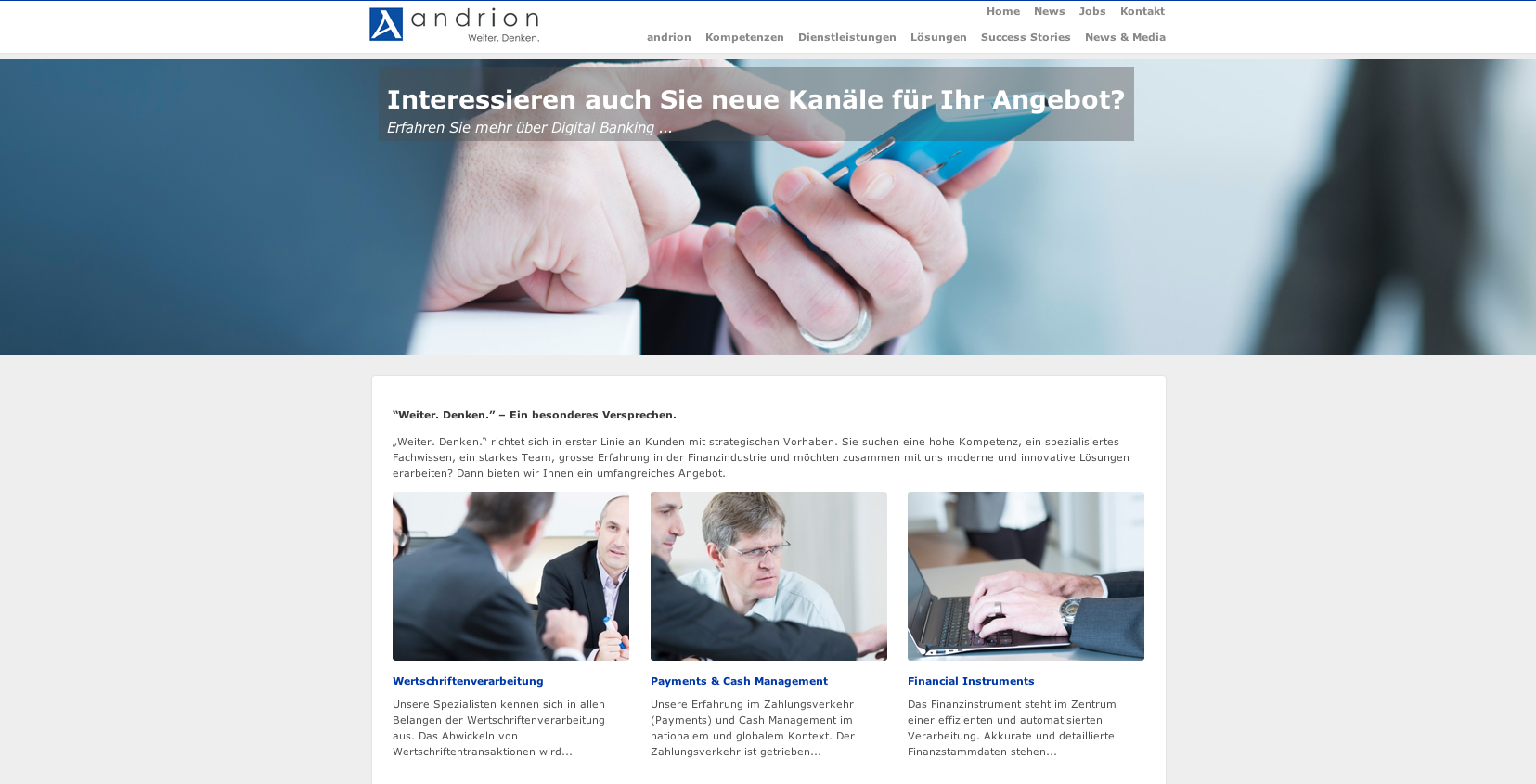 Neue Homepage von andrion ag - Commento GmbH