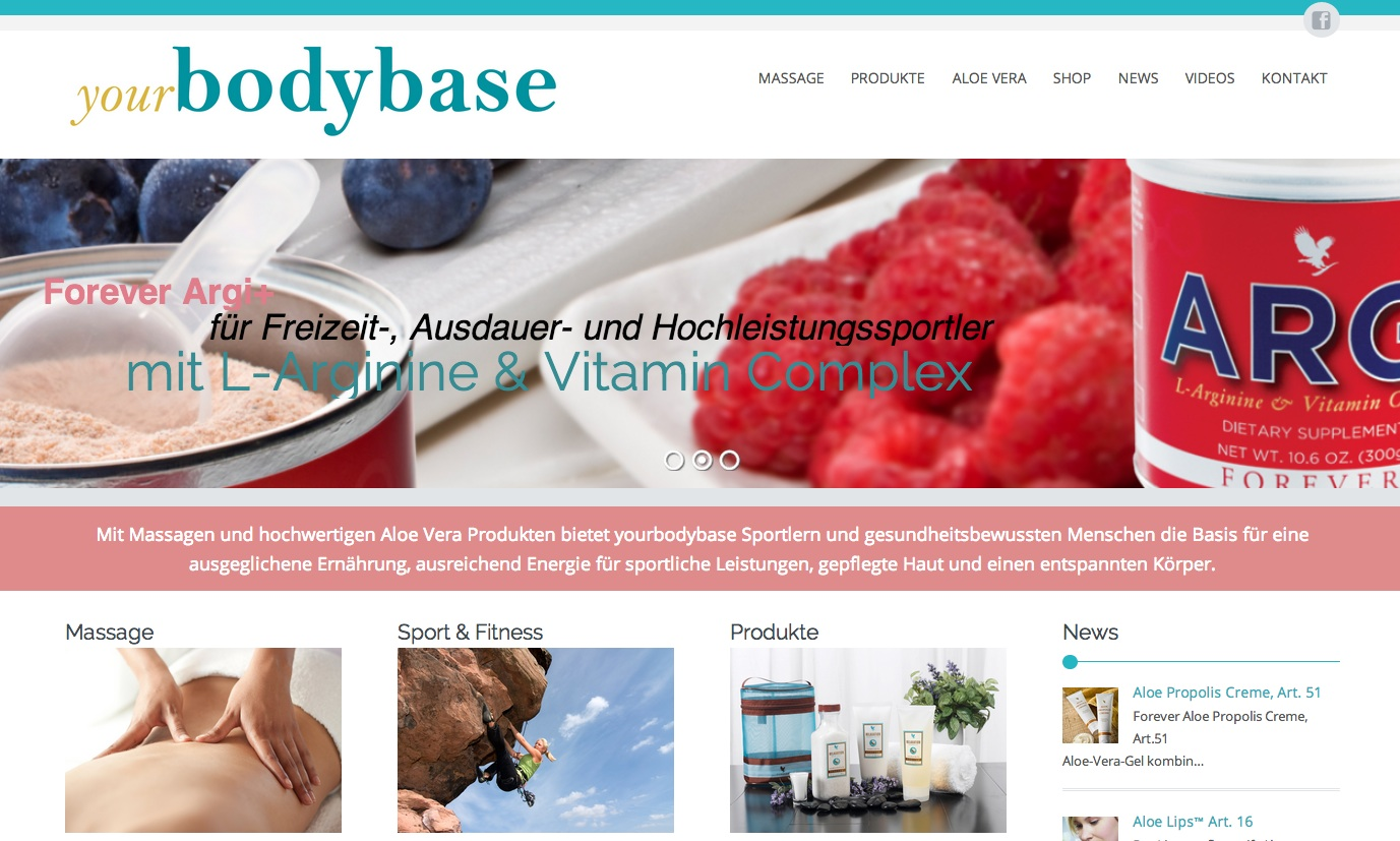 Webseite yourbodybase - Commento GmbH
