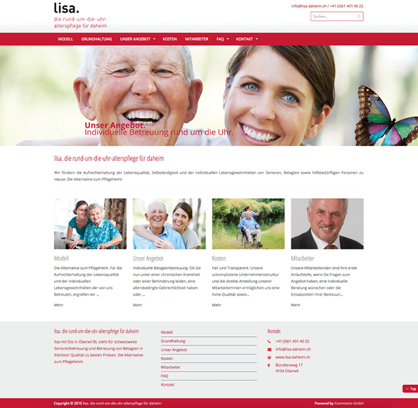 Homepage lisa-daheim.ch - Commento GmbH