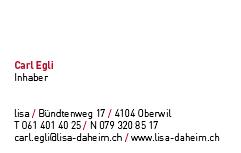 Corporate Design für lisa. die rund-um-die-uhr-alterspflege für daheim - Visitenkarte - Commento GmbH