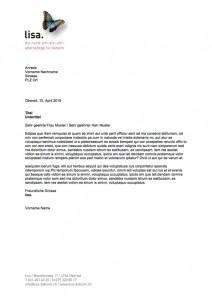 Corporate Design für lisa. die rund-um-die-uhr-alterspflege für daheim - Briefvorlagen - Commento GmbH